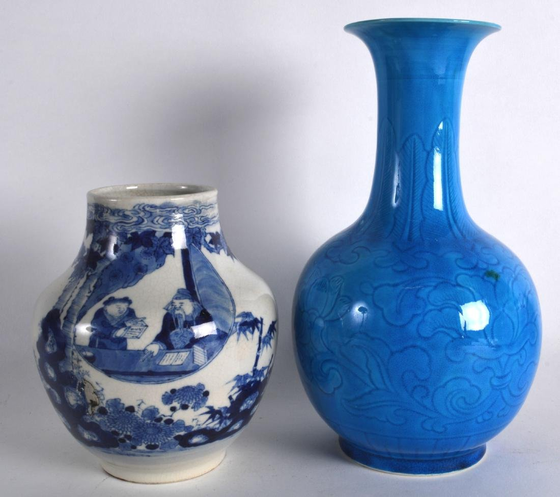 A CHINESE BLUE GLAZED BAUSTER VASE incised with