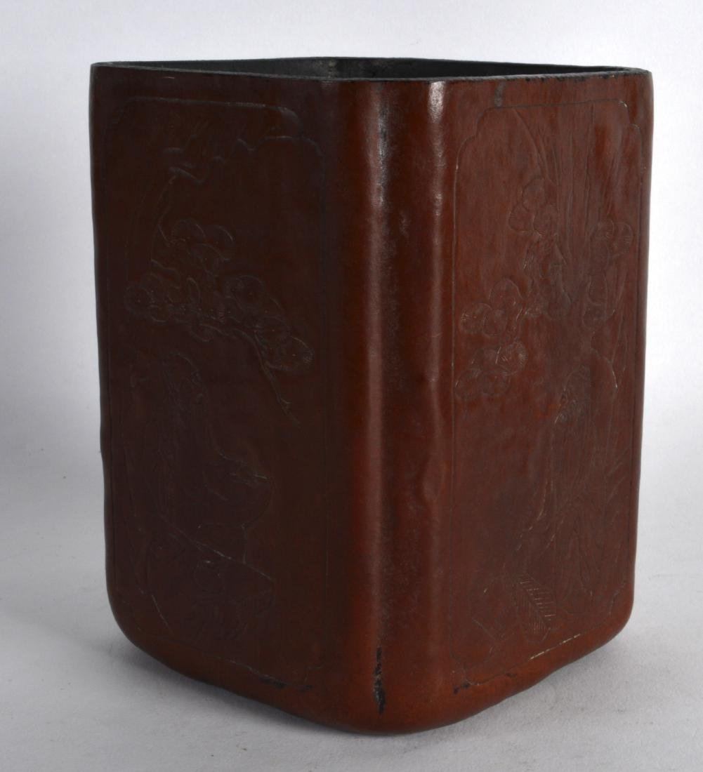 AN EARLY 20TH CENTURY CHINESE SQUARE FORM BRUSH POT - 2
