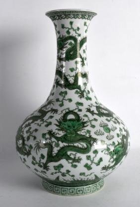 A CHINESE FAMILLE VERTE TYPE PORCELAIN VASE painted