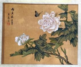 A CHINESE PAINTED SILK PANEL together with another pair