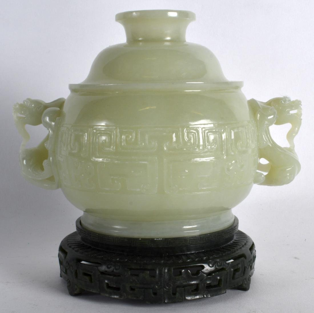 A CHINESE CARVED GREEN JADE TWIN HANDLED CENSER AND - 2