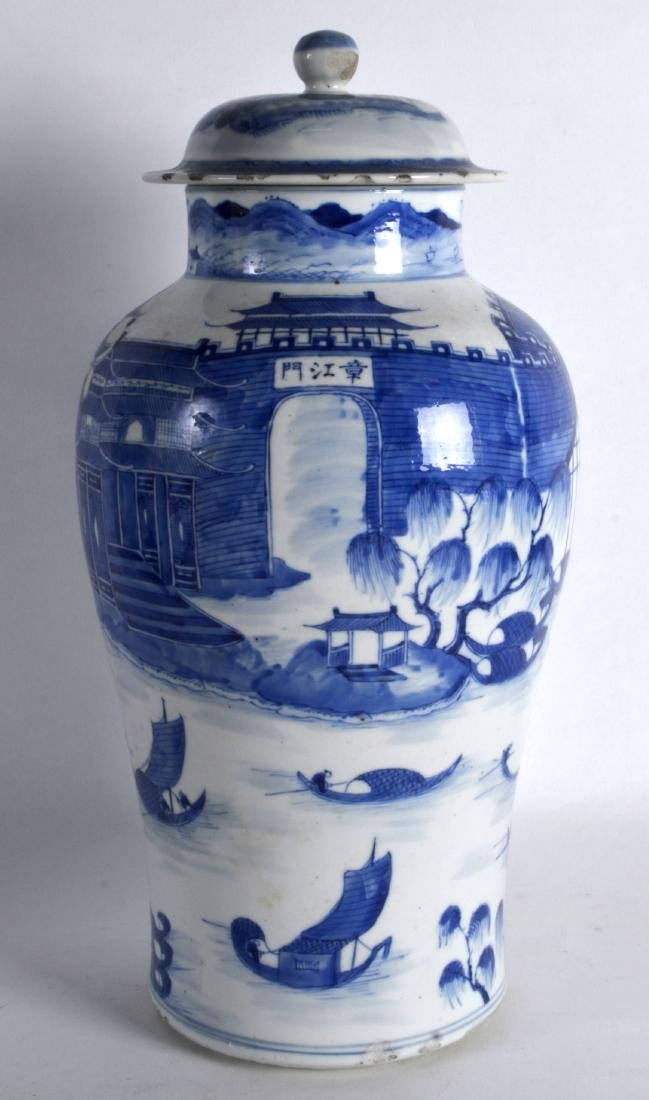 A LARGE 19TH CENTURY CHINESE BLUE AND WHITE BALUSTER