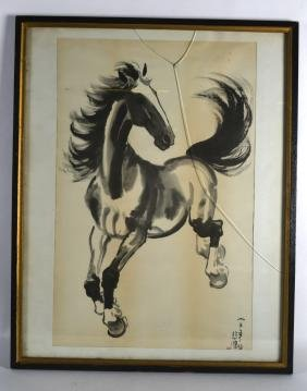 A LARGE CHINESE FRAMED PICTURE OF A BLACK AND WHITE