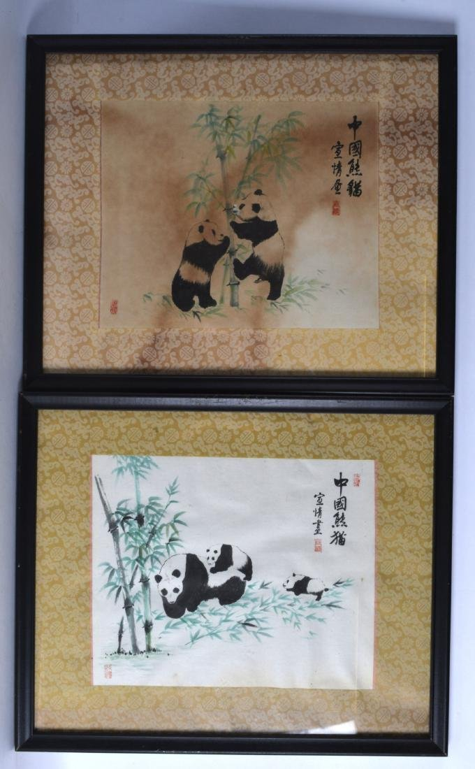 A PAIR OF FRAMED CHINESE INKWORK PANELS depicting - 2