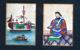 A PAIR OF FRAMED 19TH CENTURY CHINESE PITH PAPER WORKS