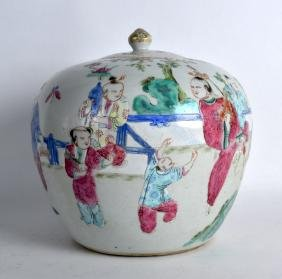 A 19TH CENTURY CHINESE FAMILLE ROSE BALUSTER GINGER JAR