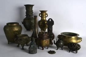 A COLLECTION OF CHINESE QING DYNASTY AND LATER BRONZE