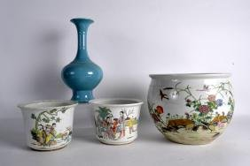 A CHINESE BLUE GROUND VASE together wIth a pair of