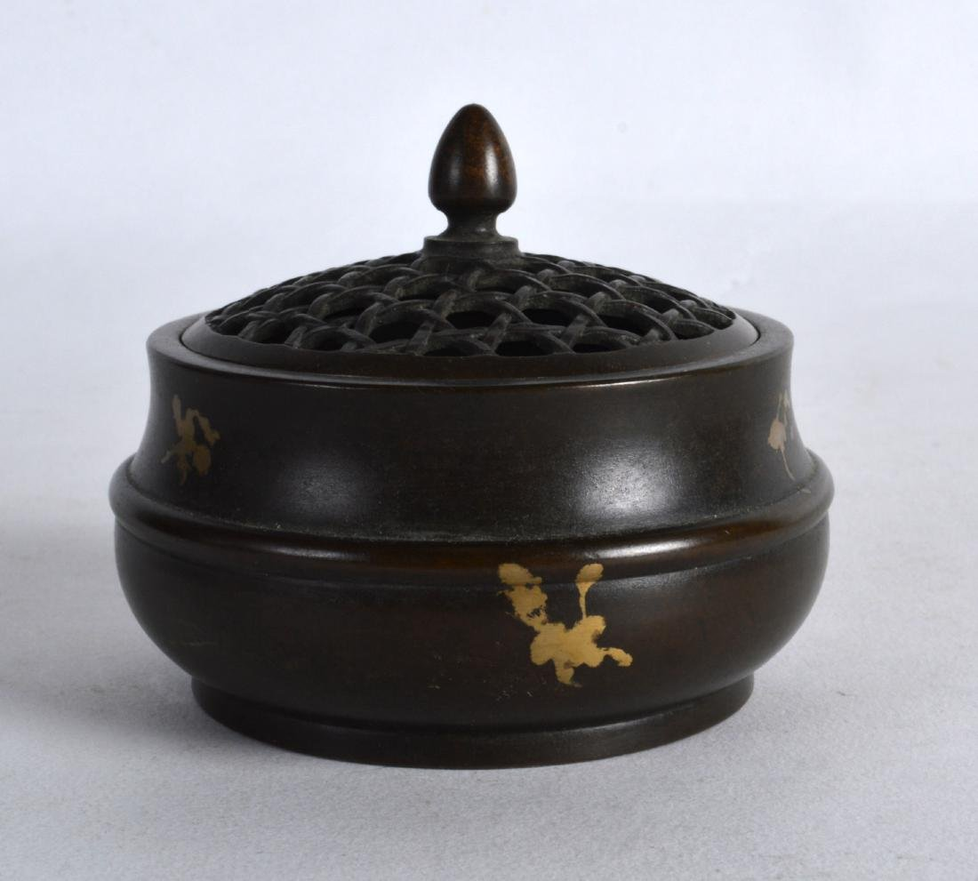 A CHINESE GOLD SPLASH BRONZE CENSER AND COVER bearing - 2