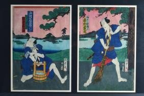 A FRAMED PAIR OF 19TH CENTURY JAPANESE MEIJI PERIOD