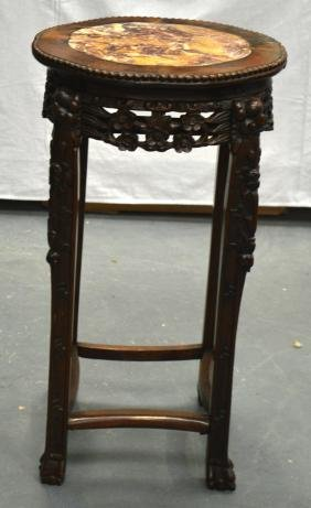A 19TH CENTURY CHINESE MARBLE TOP HARDWOOD STAND. 2Ft