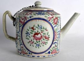 A LARGE 18TH CENTURY CHINESE FAMILLE ROSE TEAPOT AND