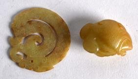 TWO CHINESE CARVED YELLOW JADE ARTICLES. (2)