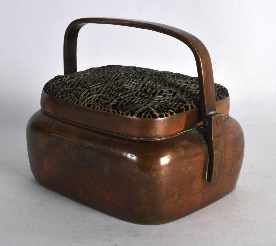 A 19TH CENTURY CHINESE COPPER HAND WARMER AND COVER - 2