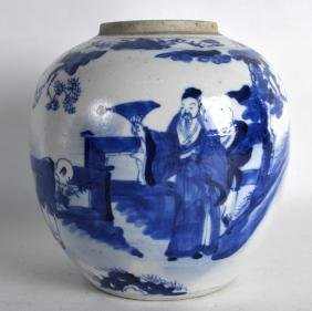 A 19TH CENTURY CHINESE BLUE AND WHITE GINGER JAR