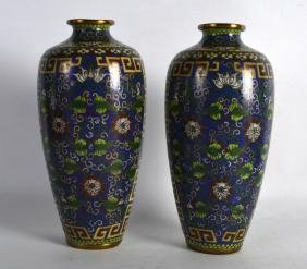 A PAIR OF EARLY 20TH CENTURY CHINESE CLOISONNE ENAMEL