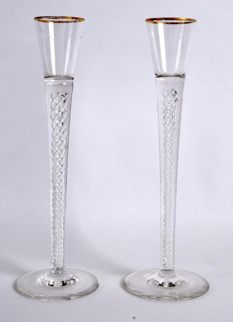 A PAIR OF SPIRAL TWIST GEORGE III STYLE GLASSES. 9Ins