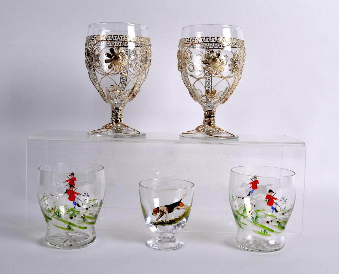 A PAIR OF VINTAGE ENAMELLED GLASS 'FOX HUNTING' GLASSES