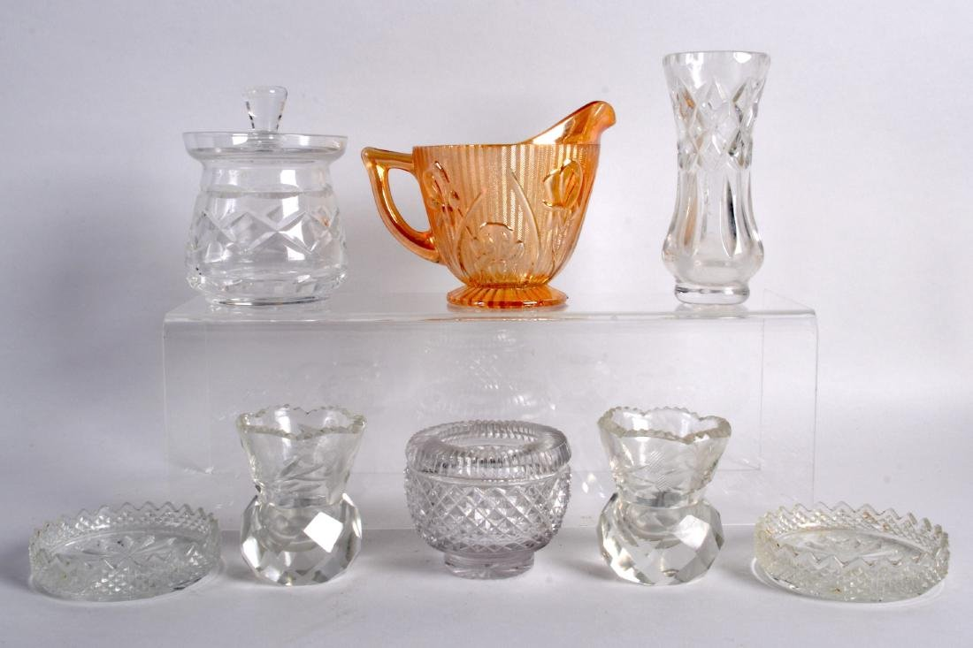 A REGENCY CUT GLASS SALT together with seven other