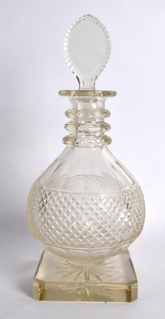 A GOOD 18TH/19TH CENTURY CUT GLASS DECANTER AND STOPPER