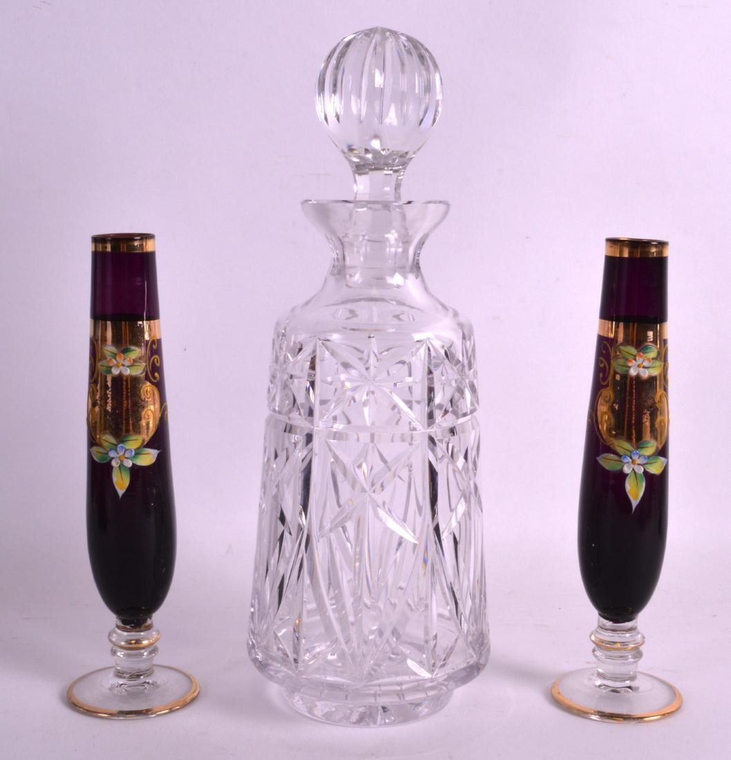 A PAIR OF BOHEMIAN GLASS GOBLETS together with a