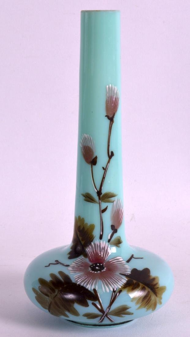 A LATE VICTORIAN GREEN OPALINE GLASS VASE painted with