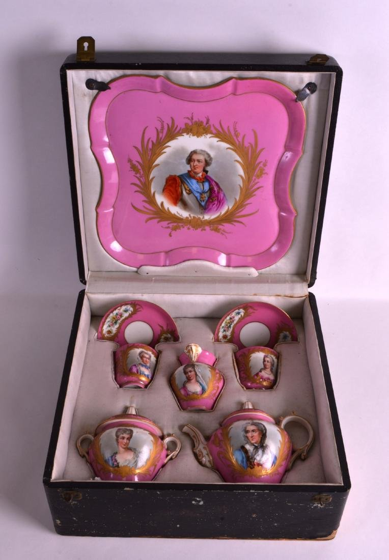 A FINE 19TH CENTURY SEVRES CASED PORCELAIN TEA FOR TWO