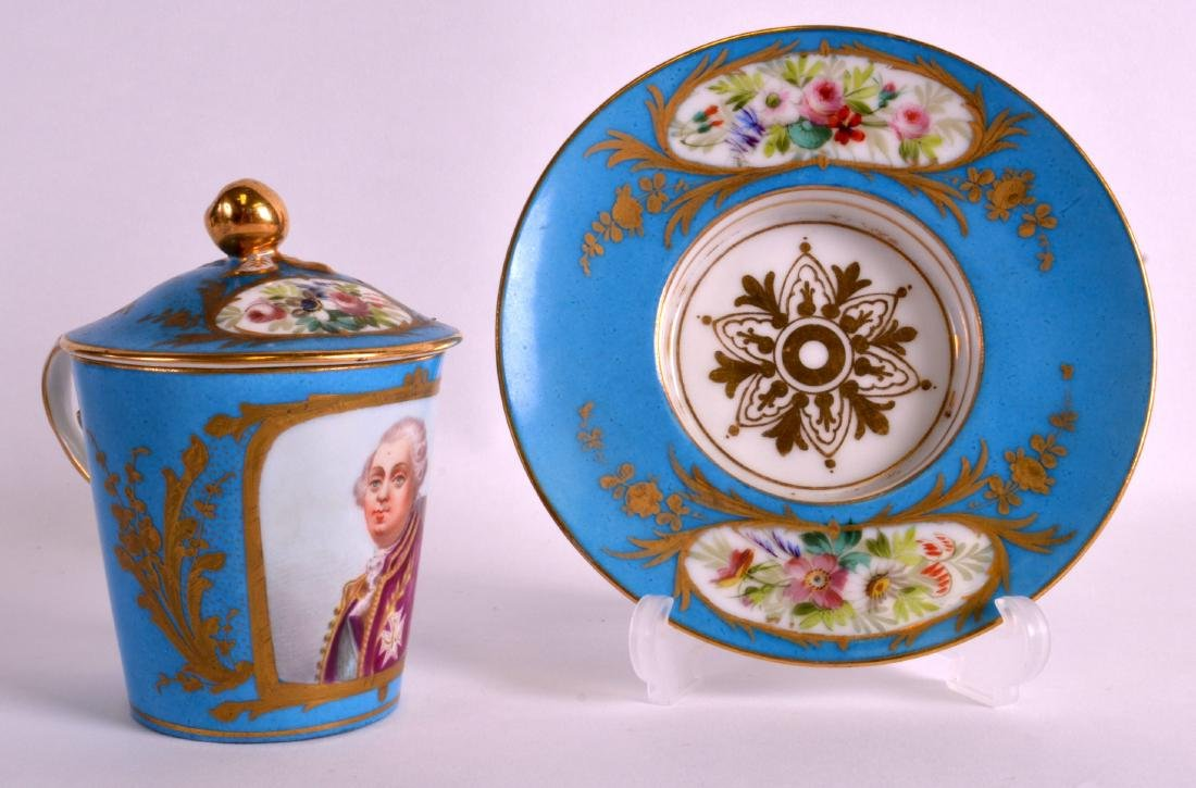 A GOOD SEVRES PORCELAIN CHOCOLATE CUP, COVER AND SAUCER