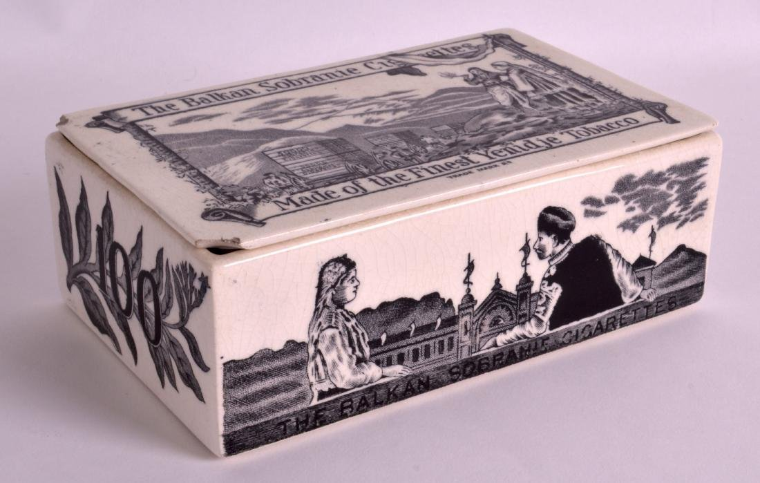 AN UNUSUAL BALKAN CIGARETTE PRINTED BOX AND COVER