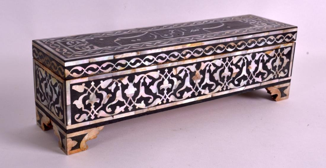 AN ISLAMIC MOTHER OF PEARL INLAID PEN BOX decorated