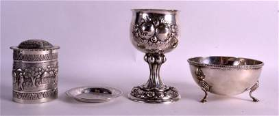 A 19TH CENTURY CONTINENTAL SILVER BEAKER together with
