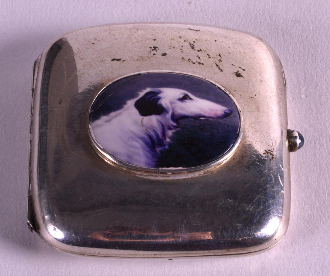 A SILVER 'DOG' CASE. 2.25ins wide.