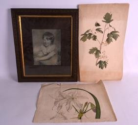 A FRAMED PRINT OF A YOUNG GIRL, together with two