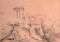 FRENCH SCHOOL, A Framed sketch drawing of a castle in a