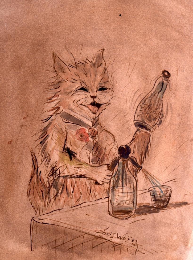"AN UNFRAMED PEN & WATERCOLOUR, signed Louis Wain, ""Cat"