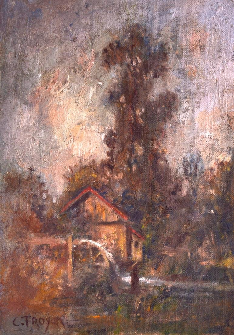 CONTAN TROYON, unframed oil on panel, impressionist,