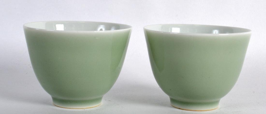 A PAIR OF CHINESE CELADON TEABOWLS bearing Qianlong - 2