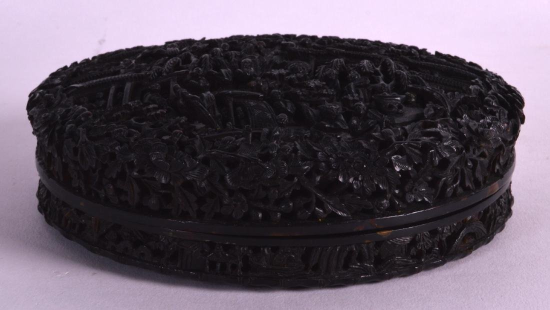 A GOOD LARGE 19TH CENTURY CHINESE CARVED TORTOISESHELL