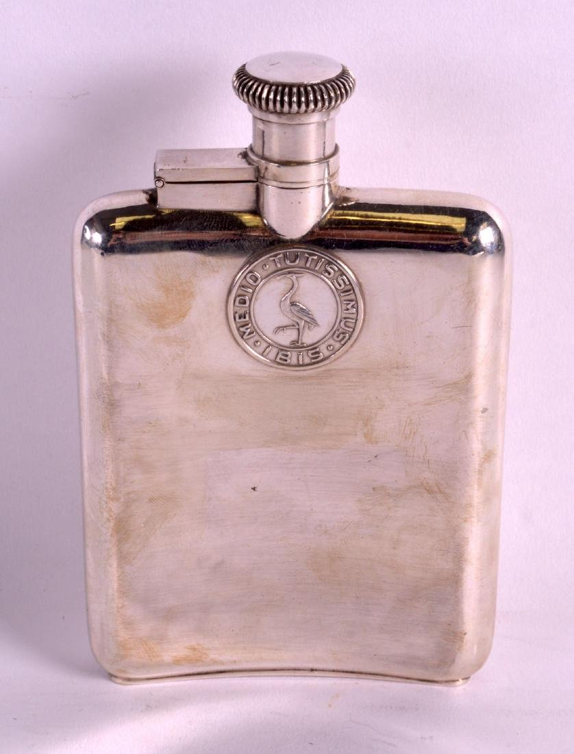 AN UNUSUAL EARLY 20TH CENTURY CHINESE SILVER HIP FLASK