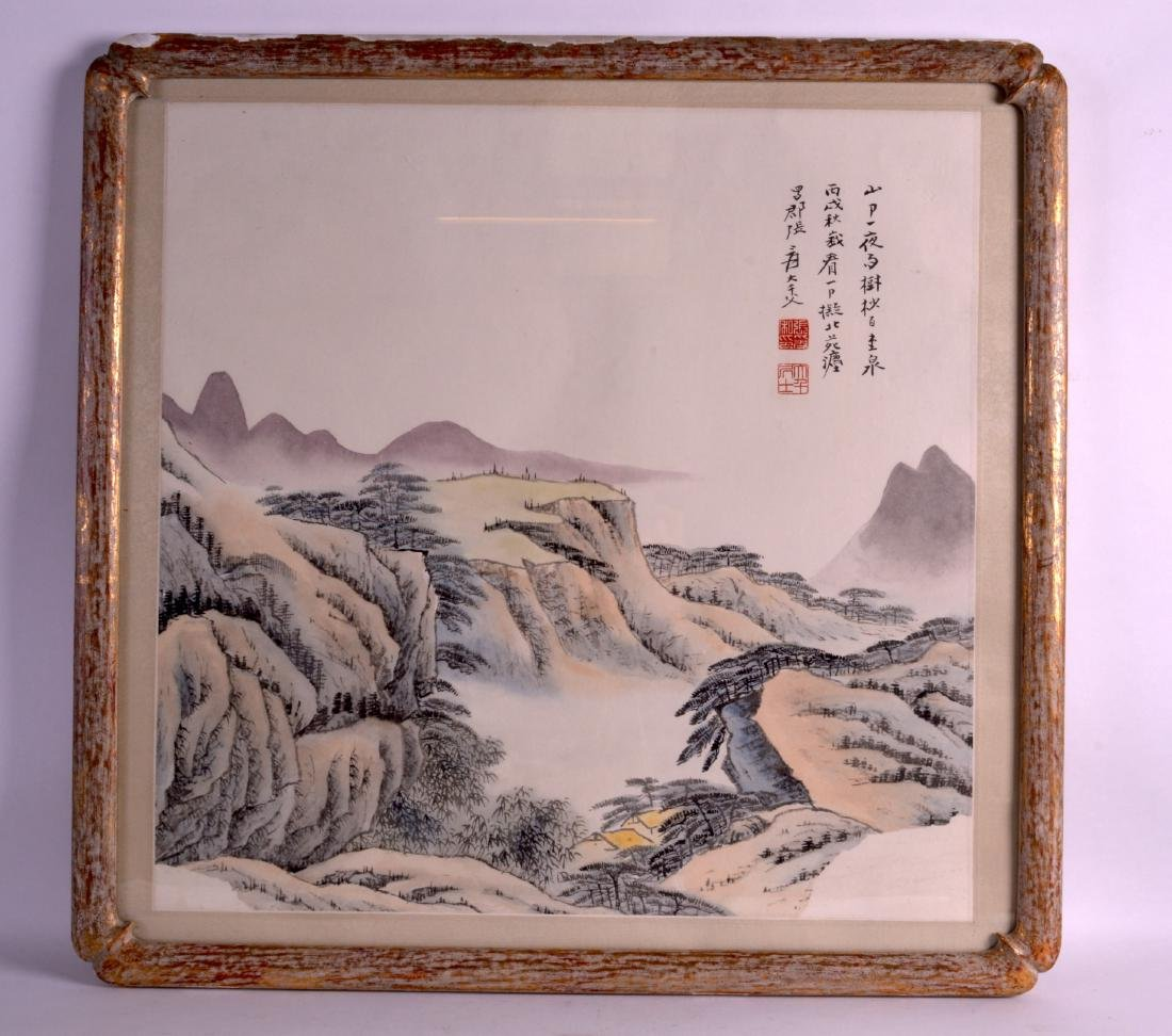 A FRAMED EARLY 20TH CENTURY CHINESE INKWORK PANEL