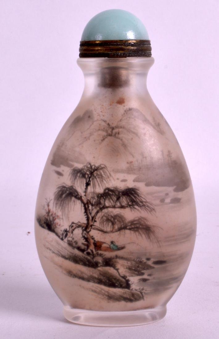 A CHINESE REPUBLICAN PERIOD FROSTY GLASS SNUFF BOTTLE - 2