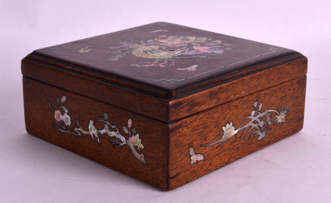 A LATE 19TH CENTURY CHINESE HONGMU SQUARE BOX AND COVER