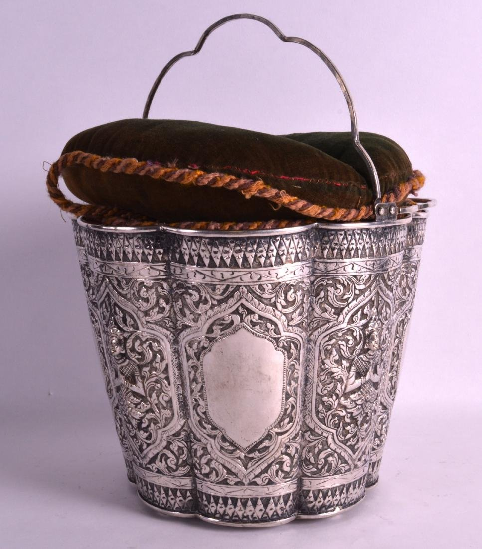 A GOOD 19TH CENTURY SOUTH EAST ASIAN SILVER BUCKET with