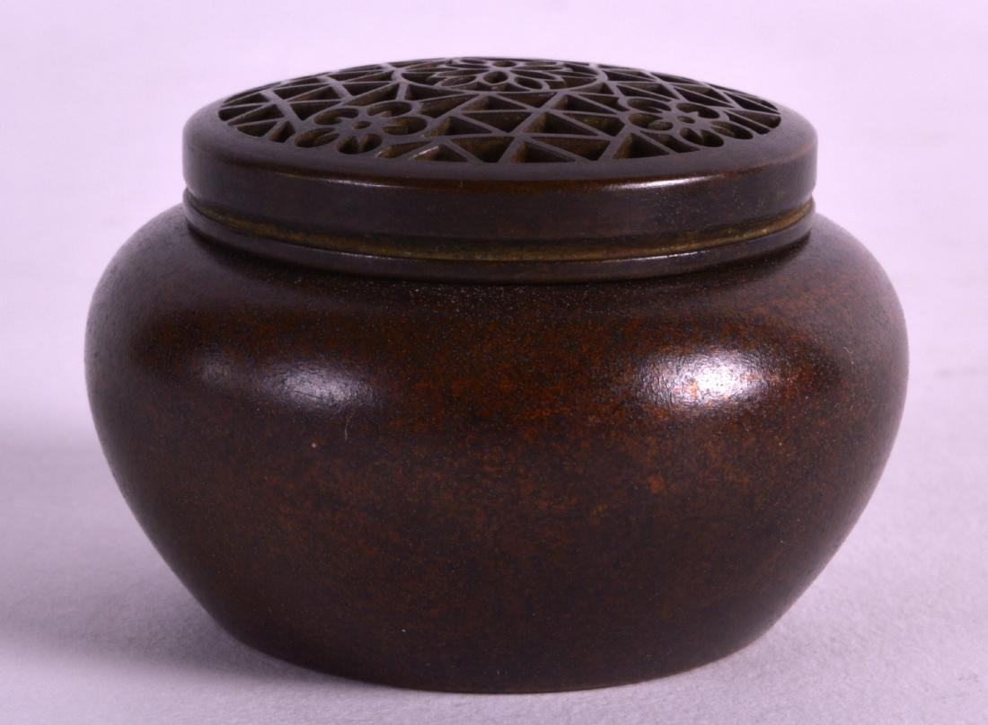 A MINIATURE CHINESE BRONZE CENSER AND COVER with