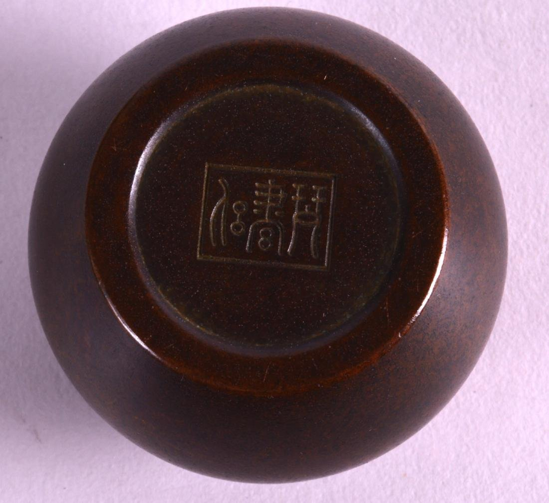 A MINIATURE CHINESE BRONZE CENSER AND COVER with - 3