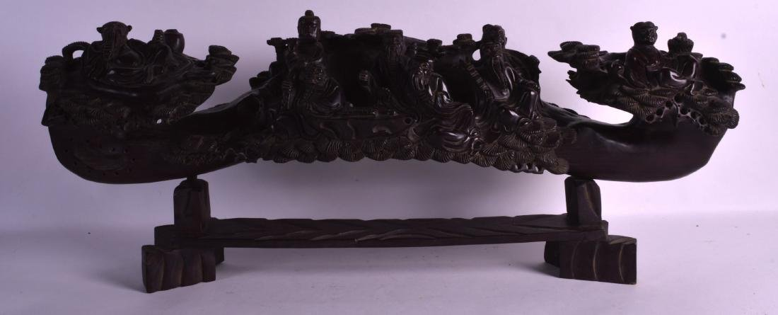 A LARGE 19TH CENTURY CHINESE CARVED HARDWOOD FIGURAL