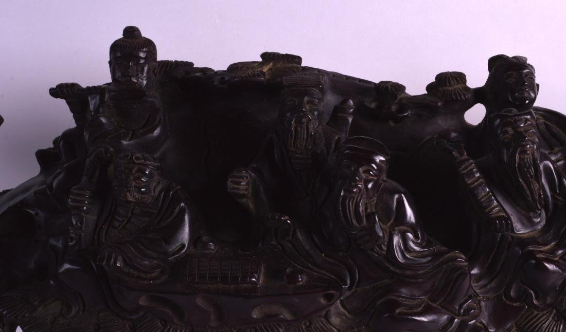 A LARGE 19TH CENTURY CHINESE CARVED HARDWOOD FIGURAL - 3