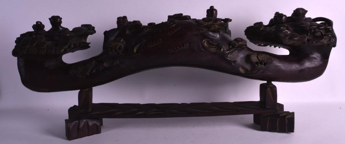 A LARGE 19TH CENTURY CHINESE CARVED HARDWOOD FIGURAL - 5