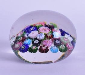 A GOOD ANTIQUE FRENCH GLASS MILLIFIORE PAPERWEIGHT