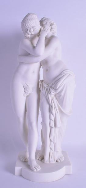 A GOOD MID 19TH CENTURY MINTON PARIAN FIGURE OF CUPID &